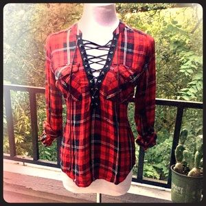 EXPRESS Red Plaid Lace-Up